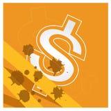 Предпосылка вектора доллара денег дела установленная оранжевая Стоковое Изображение RF