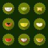 Предпосылка вектора плодоовощ установленная, включает яблоко Стоковые Изображения