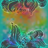 Предпосылка вектора радуги абстрактная с doodle Стоковые Изображения RF