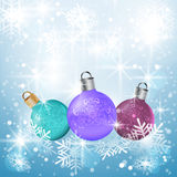 Предпосылка вектора рождества с шариками Стоковое Изображение