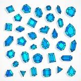 Предпосылка вектора самоцветов doodle шаржа голубая иллюстрация штока