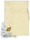 Предпосылка вектора Старая бумага с завитыми углами и весной цветет иллюстрация штока