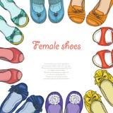 Предпосылка вектора с ботинками женщин в круге Стоковое Фото