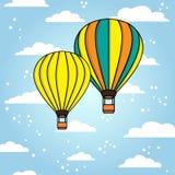Предпосылка вектора с воздушными шарами и облаками Стоковое Изображение
