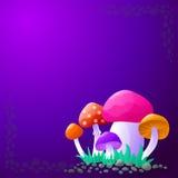 Предпосылка вектора с грибами Стоковые Изображения RF
