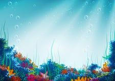Предпосылка вектора с подводной пещерой Стоковая Фотография RF