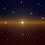 Предпосылка вектора темная с звездой и лучами Стоковое Фото