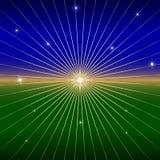 Предпосылка вектора темная с звездой и лучами Стоковая Фотография