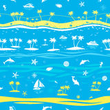 Предпосылка вектора тропических каникул пляжа безшовная Стоковые Изображения RF