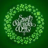 Предпосылка венка клеверов лист Ирландского 4 удачливая на день St. Patrick 10 eps Стоковые Изображения RF