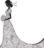 Шикарный силуэт невесты стоковое изображение rf