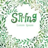 Предпосылка весны акварели Зеленое слово, ветви иллюстрация вектора