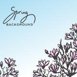 Предпосылка весны с завтрак-обедом цветения магнолии иллюстрация штока