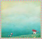 Предпосылка весны с домом и тропой бесплатная иллюстрация