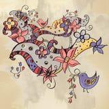 Абстрактная предпосылка с цветками и птицами Стоковое Фото