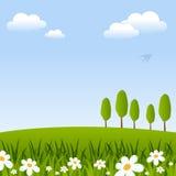 Предпосылка весны с цветками & деревьями иллюстрация вектора