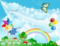Предпосылка весны с pinwheels и бабочкой Стоковая Фотография RF