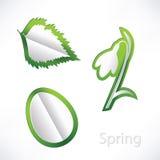 Предпосылка весны с snowdrop, лист березы и origami яичка Стоковые Фотографии RF