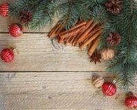 Предпосылка ветвей ели, красных шариков, конусов сосны, грецких орехов, анисовки звезды и циннамона Стоковые Фото