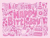 Предпосылка вечеринки по случаю дня рождения Doodle Стоковые Изображения RF