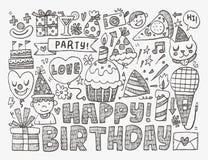 Предпосылка вечеринки по случаю дня рождения Doodle Стоковая Фотография RF