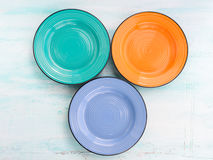 Предпосылка взгляд сверху блюда плиты пастельного цвета керамическая Стоковые Фото