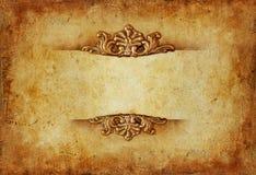 Предпосылка винтажного королевского золота горизонтальная с флористическими орнаментами Стоковые Фотографии RF