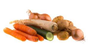 предпосылка включила изолированную деятельность сырцовых овощей путя белую Питание Стоковое Фото