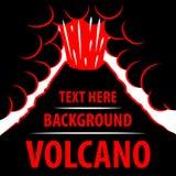Предпосылка вулкана Извержение вулкана на заднем плане для надписи Стоковые Изображения