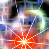 Предпосылка в голубых и темных оттенках с оранжевой звездой Стоковые Изображения RF