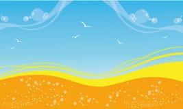 предпосылка в желтой и голубом на лето Стоковые Изображения RF
