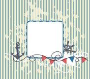 Предпосылка в морском стиле с рамкой Стоковые Изображения