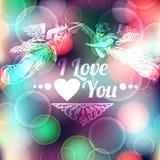 Предпосылка влюбленности с ангелами Стоковое Изображение