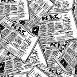 Предпосылка газеты monochrome винтажная безшовная Стоковые Изображения RF