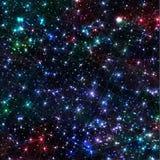 Предпосылка галактики абстрактного вектора космическая с межзвёздным облаком, stardust, яркими сияющими звездами, и геометрическо Стоковые Изображения RF
