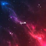 Предпосылка галактики космоса вектора Красочные фиолетов-красные межзвёздные облака с яркими звездами Стоковое Изображение