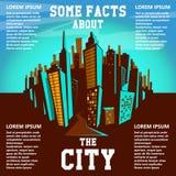 Предпосылка города шаржа вектор иллюстрации eps 8 городских пейзажей Стоковое Изображение