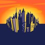 Предпосылка города шаржа вектор иллюстрации eps 8 городских пейзажей Стоковые Изображения