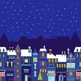 Предпосылка городка рождества ночи Стоковое Изображение