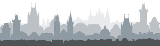 Предпосылка городского пейзажа безшовная Дизайн иллюстрации вектора - город Праги Стоковое Фото