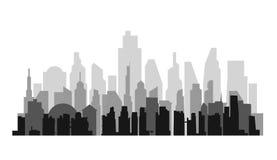 Предпосылка городского пейзажа вектора с воздушной перспективой Стоковое Изображение