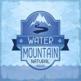 Предпосылка горы воды в ретро стиле Стоковое Изображение RF