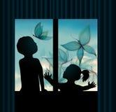Предпосылка голубого неба с бабочкой бесплатная иллюстрация