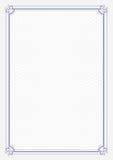 Предпосылка голубого grunge сертификата размера границы A4 ретро бумажная Стоковые Фотографии RF