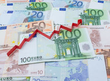 Предпосылка евро и стрелки вверх Стоковое Изображение