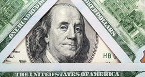 Предпосылка денег (близких вверх долларовой банкноты) Стоковое Изображение