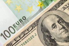 Предпосылка денег Доллар и евро Стоковая Фотография RF