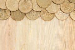 Предпосылка денег золотой монетки Стоковое фото RF