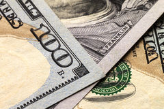 Предпосылка денег долларовых банкнот США 100 Стоковое фото RF