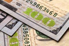 Предпосылка денег долларовых банкнот США 100 Стоковое Изображение RF